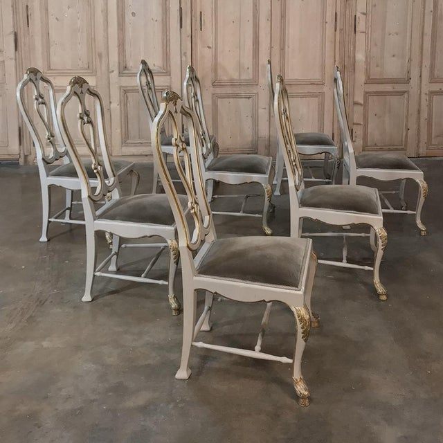Green Eight 19th CenturyPainted and Gilded Italian Dining Chairs- Set of 8 For Sale - Image 8 of 13