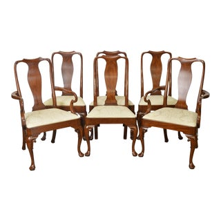 Henkel Harris Solid Cherry Queen Anne Dining Chairs - Set of 6