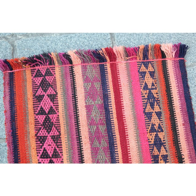 Colorful Striped Cicim Kilim -5' X 1' 5'' Kilim - Image 9 of 11