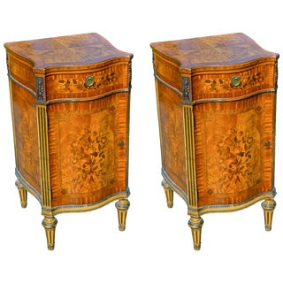 Pair of Edwardian Satinwood Inlaid Cabinets For Sale