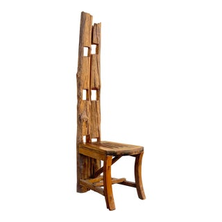 Vintage Balinese Teak Folk Art Chair, Handmade For Sale