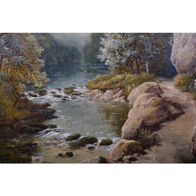 English Landscape Featuring a Rocky River Scene by Edmund John Niemann, 1856 For Sale - Image 3 of 6