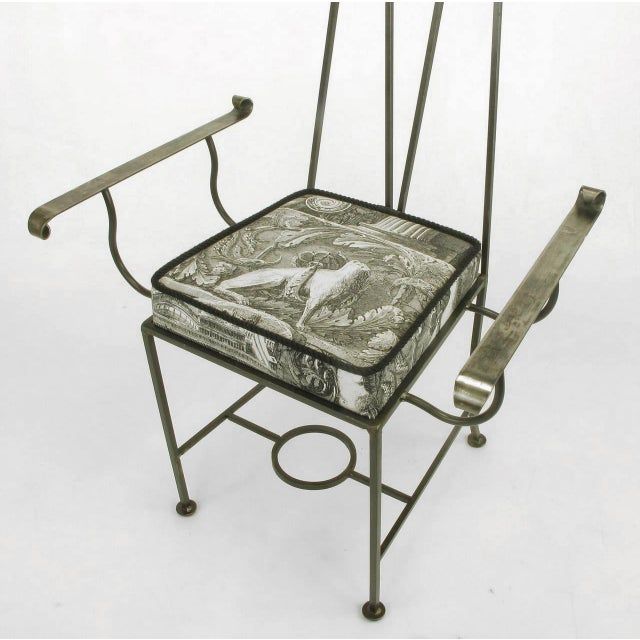 """Set of Eight Blackened, Wrought Iron, Tall """"Royal"""" Dining Chairs For Sale In Chicago - Image 6 of 10"""