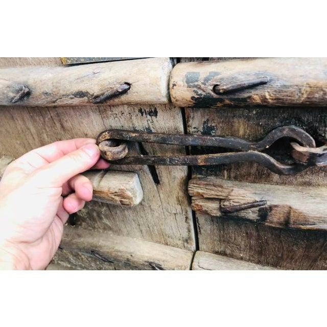 Antique Indian Teak Wood Hand Carved Doors For Sale - Image 4 of 12