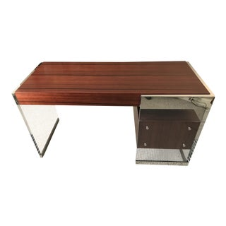 Minimalistic Modern Mitchell Funk Lucite and Rosewood Tanker Desk For Sale
