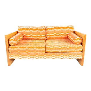 Adrian Pearsall Craft for Lane Mid Century Blonde Oak and Orange Jack Lenore Larsen Fabric Settee For Sale