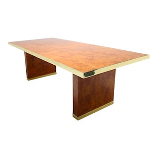 SIgned Burlwood and Brass Dining Table by Pierre Cardin For Sale