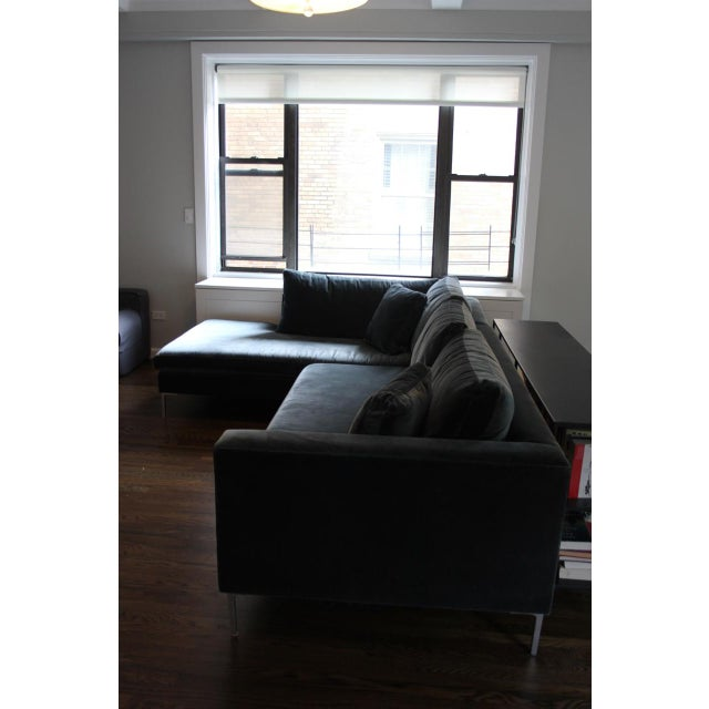 Contemporary Abc Carpet & Home Cobble Hill Carroll Gardens Velvet Sectional For Sale - Image 3 of 5