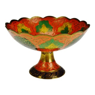 Vintage Enamel Painted India Brass Compote For Sale