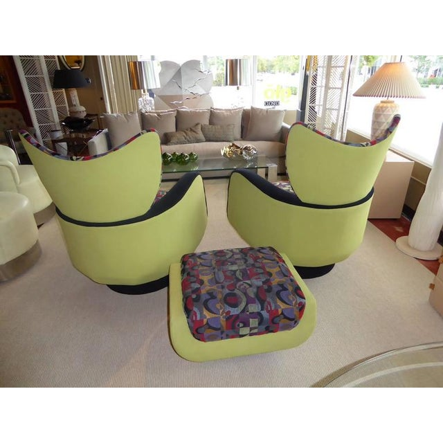 Pair of Vladimir Kagan Lounge Chairs for Directional with Ottoman - Image 5 of 9