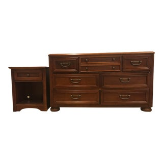 Stanley 7-Drawer Dresser With Matching Nightstand For Sale