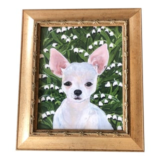 Whit Chihuahua Dog Print W/Lilly of the Valley by Judy Henn For Sale