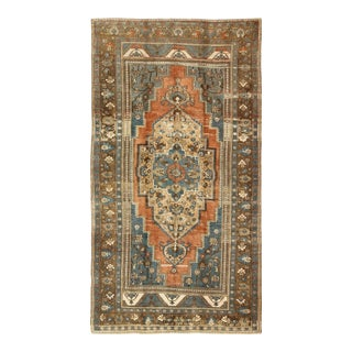 Antique Turkish Colorful Oushak Gallery Rug in Blue Brown & Terra-Cotta For Sale