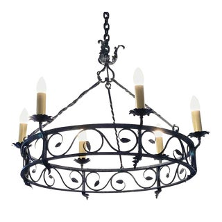 French Wrought Iron 6 Light Drum Chandelier For Sale