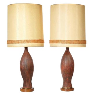 1960s Textured Ceramic Table Lamps - A Pair