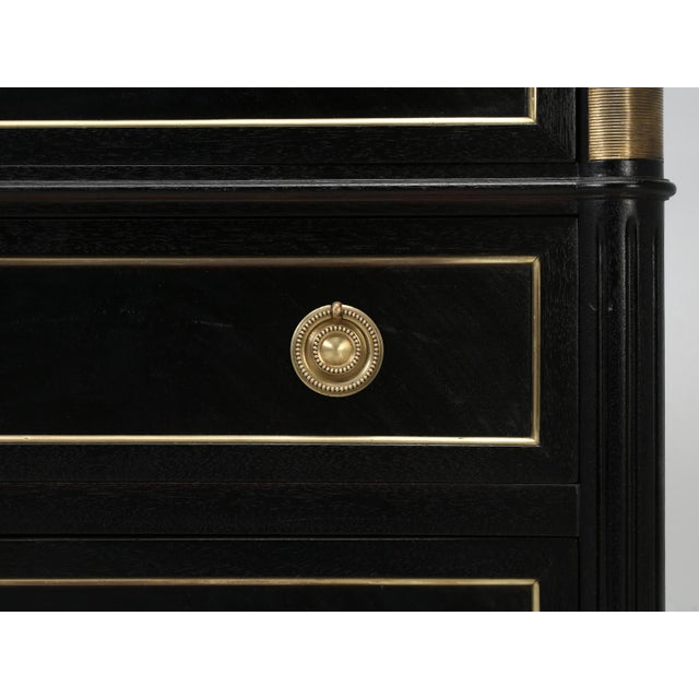 Black French Louis XVI Ebonized Commode With Marble For Sale - Image 8 of 11