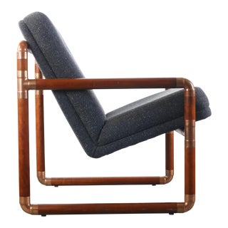 Unique Brass and Walnut Chair w/ Gray Tweed Upholsterey For Sale