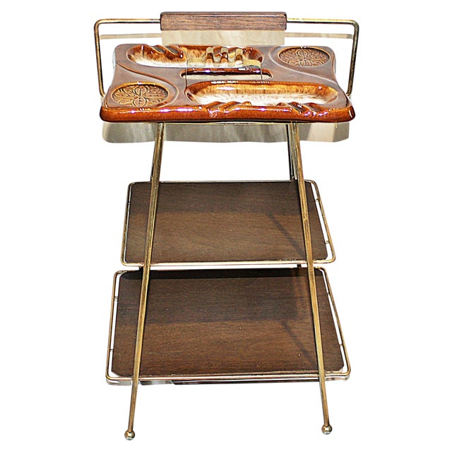 Mid-Century Modern Metal & Ceramic Smoking Stand - Image 1 of 8