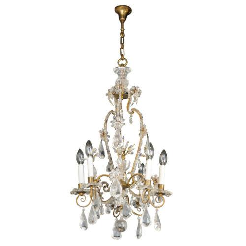 19th Century Maison Bagues Rock Crystal Chandelier For Sale