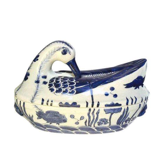 Mid Century Chinese Porcelain Tureen Duck Serving Bowl Lidded Dish Cobalt Blue White For Sale