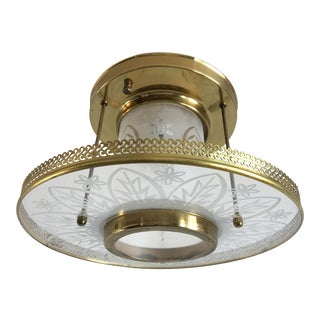 1950s Frosted Glass Ceiling Light by Virden For Sale