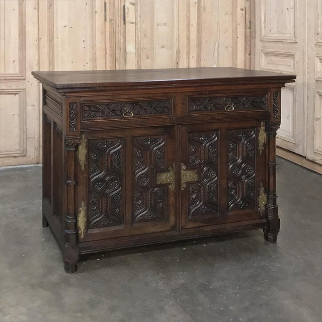 Mid 19th Century 19th Century French Gothic Oak Buffet With Brass Hardware For Sale - Image 5 of 13