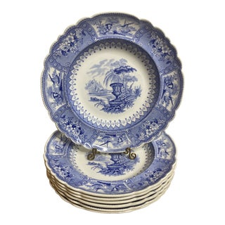 Antique Staffordshire Blue and White Soup Bowls/Plates - Set of 7 For Sale