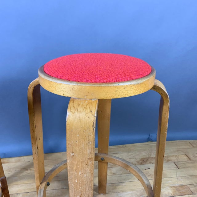 """Mid-Century Bentwood Birch 26"""" Stool, Wool Upholstery For Sale In New York - Image 6 of 9"""