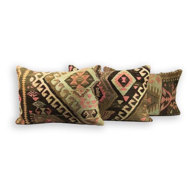 Kilim Green Lumbar Pillows - Set of 3 - Image 2 of 3