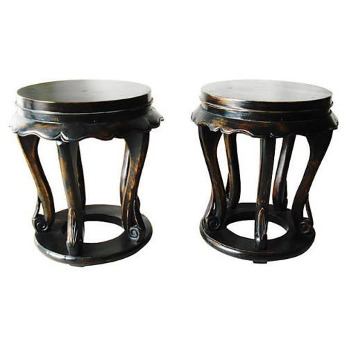 Chinese Low Table Stools - A Pair - Image 4 of 4