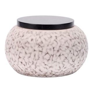 Light Charcoal Handmade Patterned Earthenware Large Round Box With Lacquer Lid by Gilles Caffier For Sale