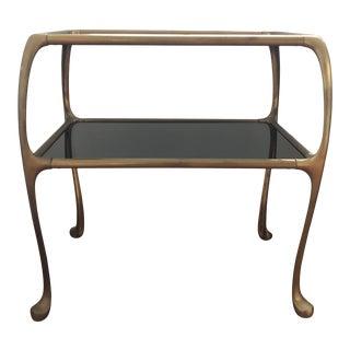 1960s Italian Maison Baguès Style Oil Rubbed Bronze Brass Table For Sale
