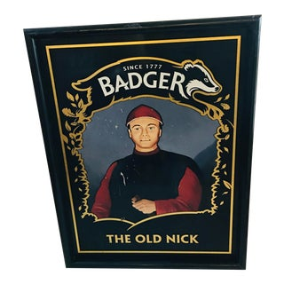 """Hand Painted """"The Badger"""" English Pub Sign For Sale"""