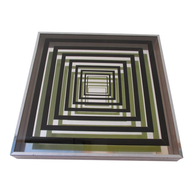 Vintage Vasarely Style Mirrored Op Art For Sale