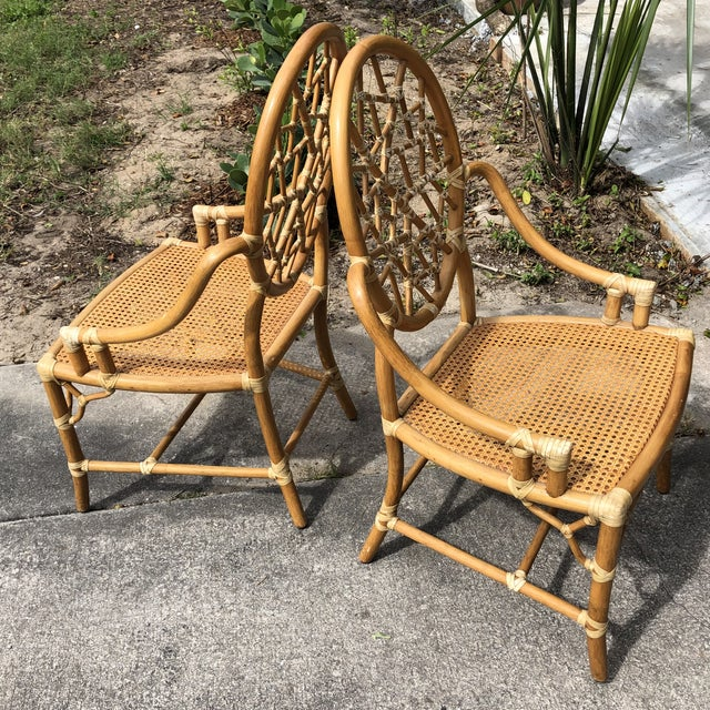 """Hollywood Regency McGuire """"Cracked Ice"""" Rattan Chairs - a Pair For Sale In West Palm - Image 6 of 10"""