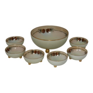 Antique Bavarian Porcelain Footed Serving Bowls - Set of 7 For Sale