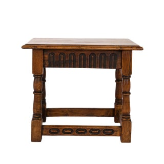 English Oak Joint Stool With Ebonized Details, Circa 1920. For Sale