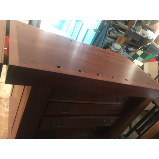 Mahogany Custom Hand Built Work Bench by Swiss Craftsman Andrew Sykes For Sale - Image 7 of 12