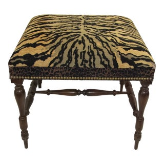 1970s Vintage Tiger Upholstered Bench For Sale