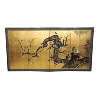 Vintage Japanese Byobu 4 Panel Gold Half Screen With Birds & Cherry Blossoms For Sale