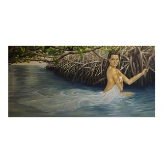 """""""Girl in Water"""" Oil Painting on Canvas by Christina Major For Sale"""