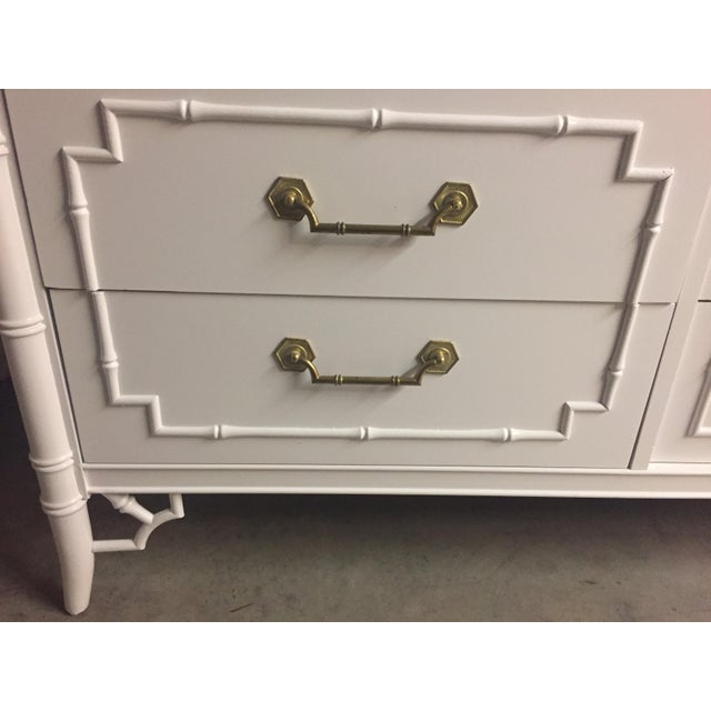 Thomasville Thomasville White Lacquered Faux Bamboo Allegro Dresser For Sale - Image 4 of 11