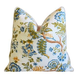 """Clarence House Botanical Floral Tree of Life Fabric Feather/Down Pillow 22"""" Square For Sale"""