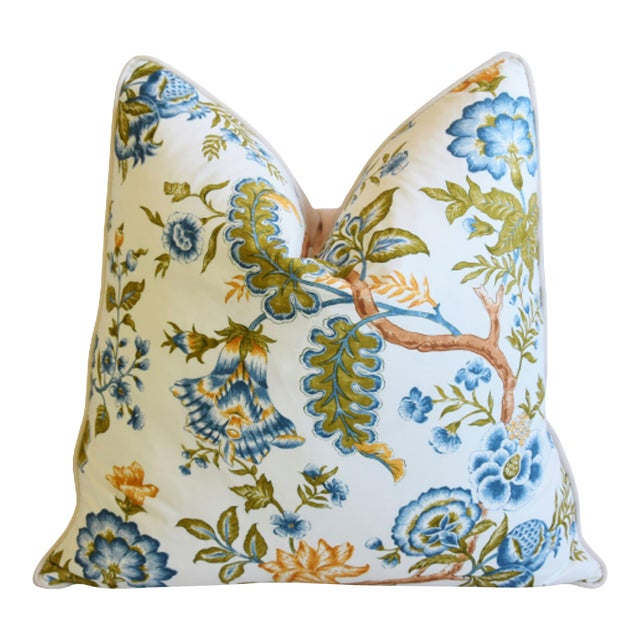 "Clarence House Botanical Floral Tree of Life Fabric Feather/Down Pillow 22"" Square For Sale"