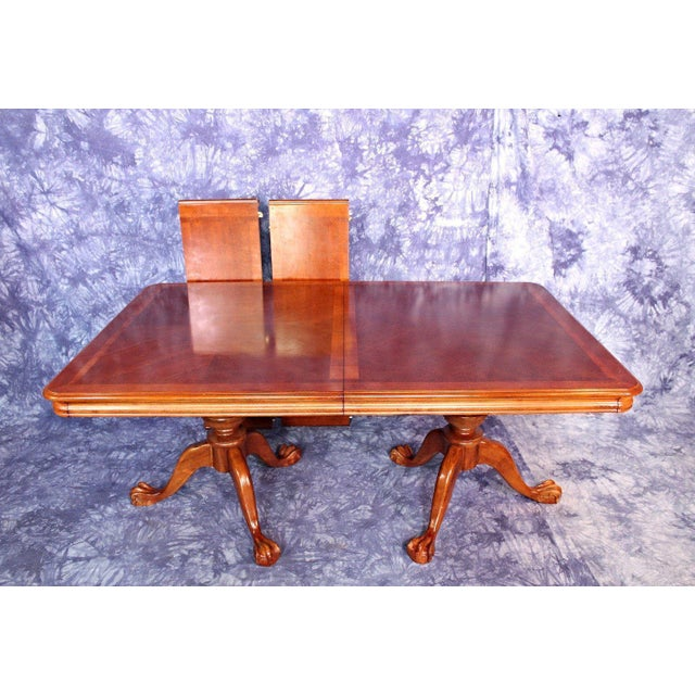 Dining Table With Three Extension Leaves And Six Matching: Double Pedestal Extension Claw Foot Dining Table
