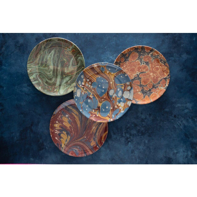 Blue Library Marble Side Plates - Set of 4 For Sale - Image 8 of 8