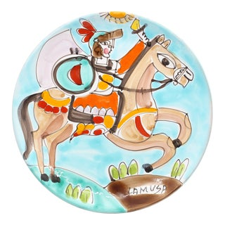1950s Folk Art La Musa Hand-Painted Sicilian Decorative Plate For Sale