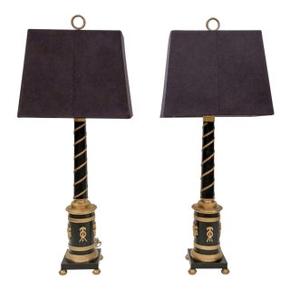 Pair Antique Empire Style Bronze Lamps, Circa 1900-1910.