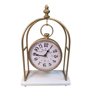 White Marble Base Clock For Sale