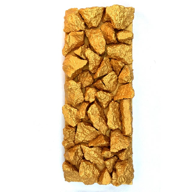 """Gilt Duplicidad"" Gold Concrete Rock Sculpture For Sale - Image 11 of 11"